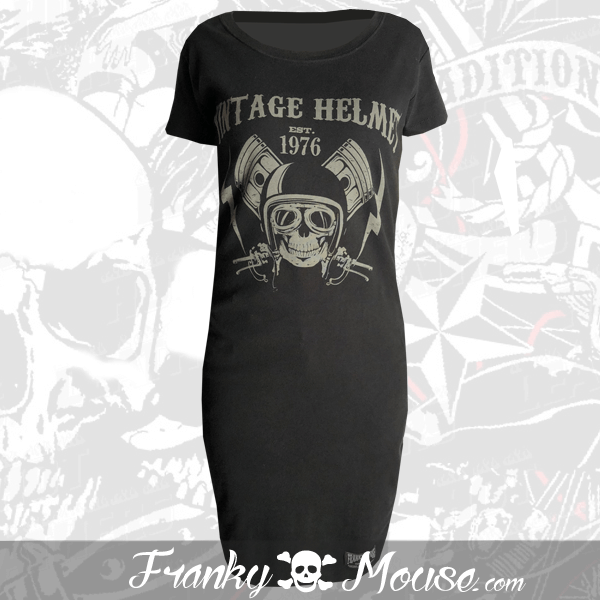 T-Shirt Dress Franky Mouse Vintage Skull Helmet